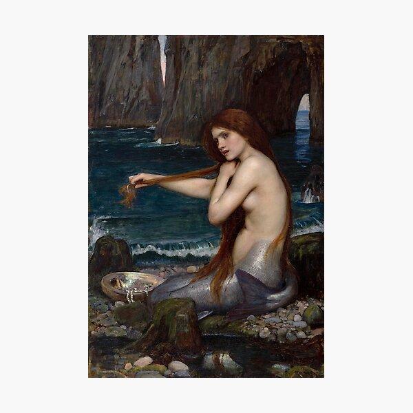 Vintage John William Waterhouse Mermaid 1900 Photographic Print