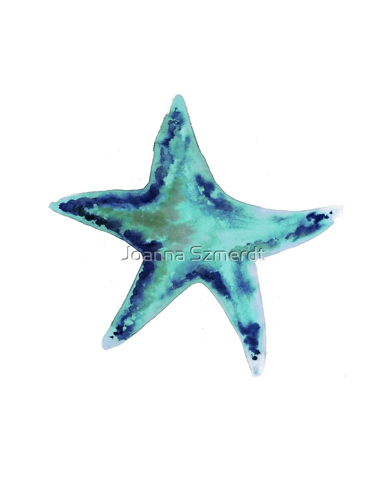 Turquoise starfish watercolor art print painting by Joanna Szmerdt