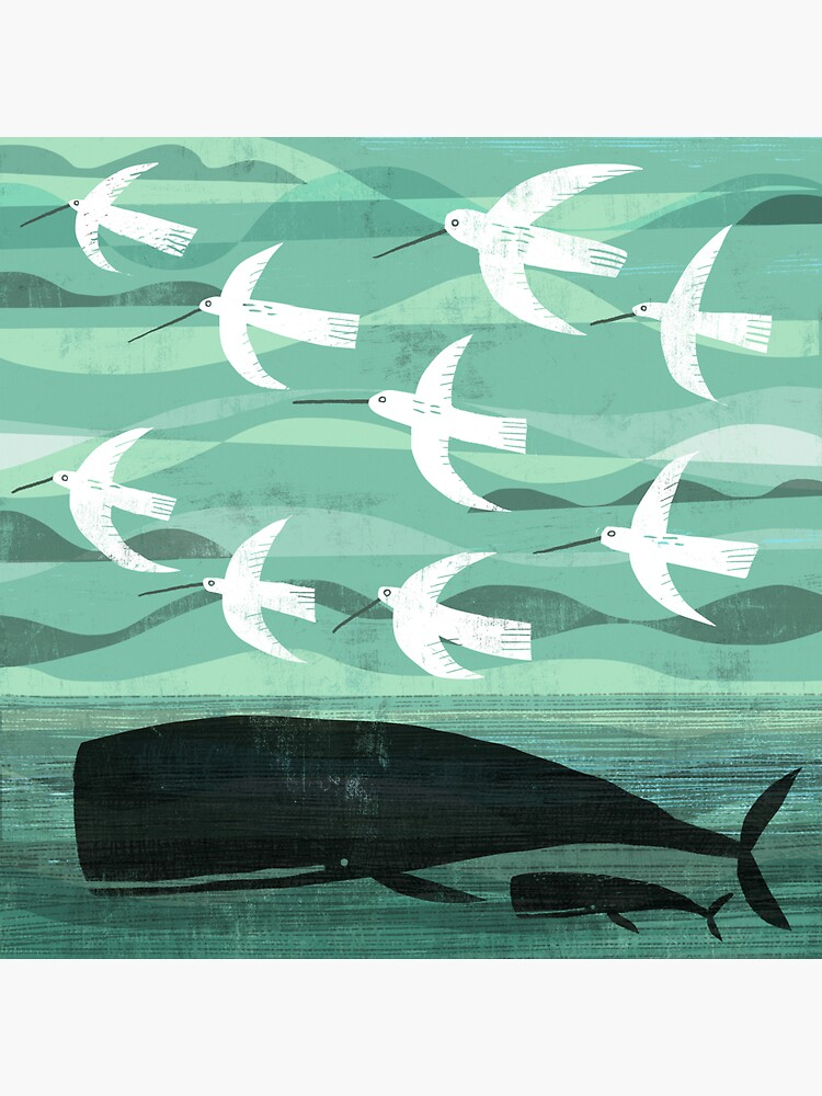 Whale and baby with flying birds by gklucas