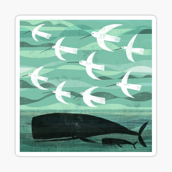 Whale and baby with flying birds Sticker
