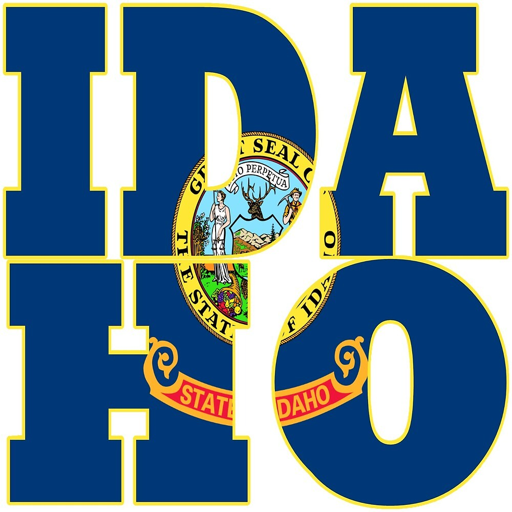 Idaho state flag typography design by oconnart