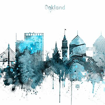 Oakland Monochrome Blue Skyline by DimDom