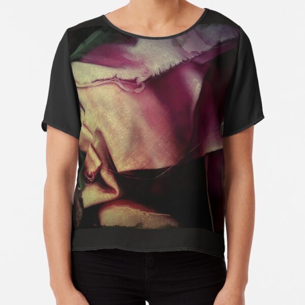 Dark purple and pink wrinkled fabric Abstract Chiffon Top