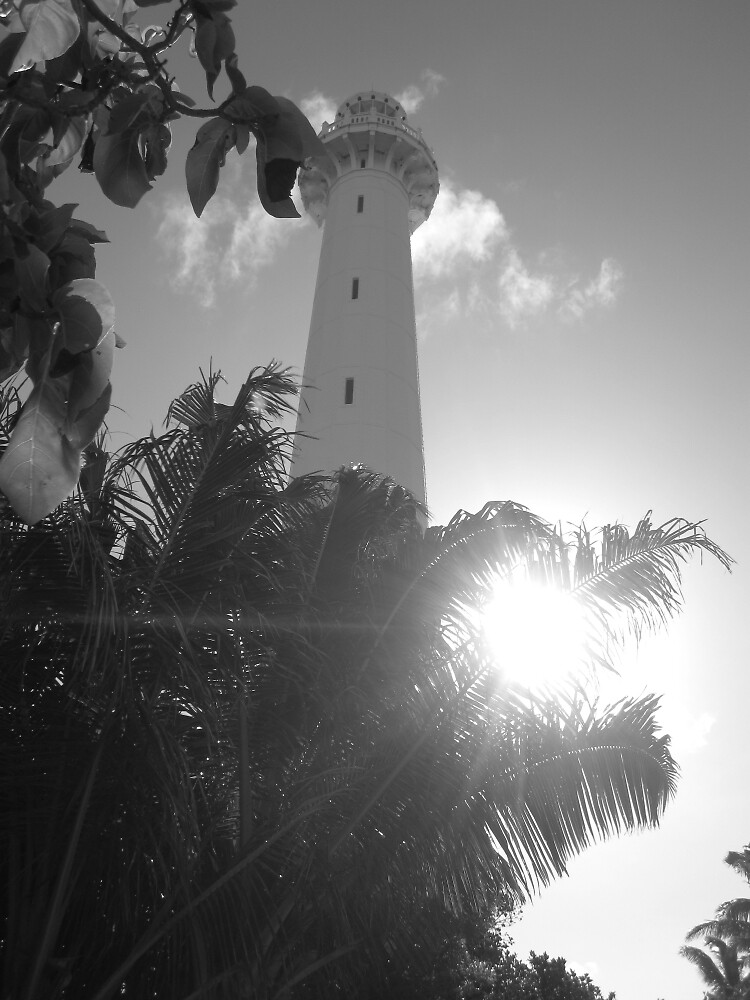 Amédée Lighthouse in Black & White by vspicerstuart