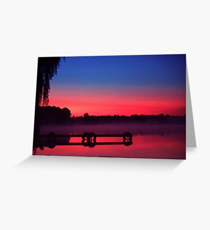 Fog over the dock Greeting Card