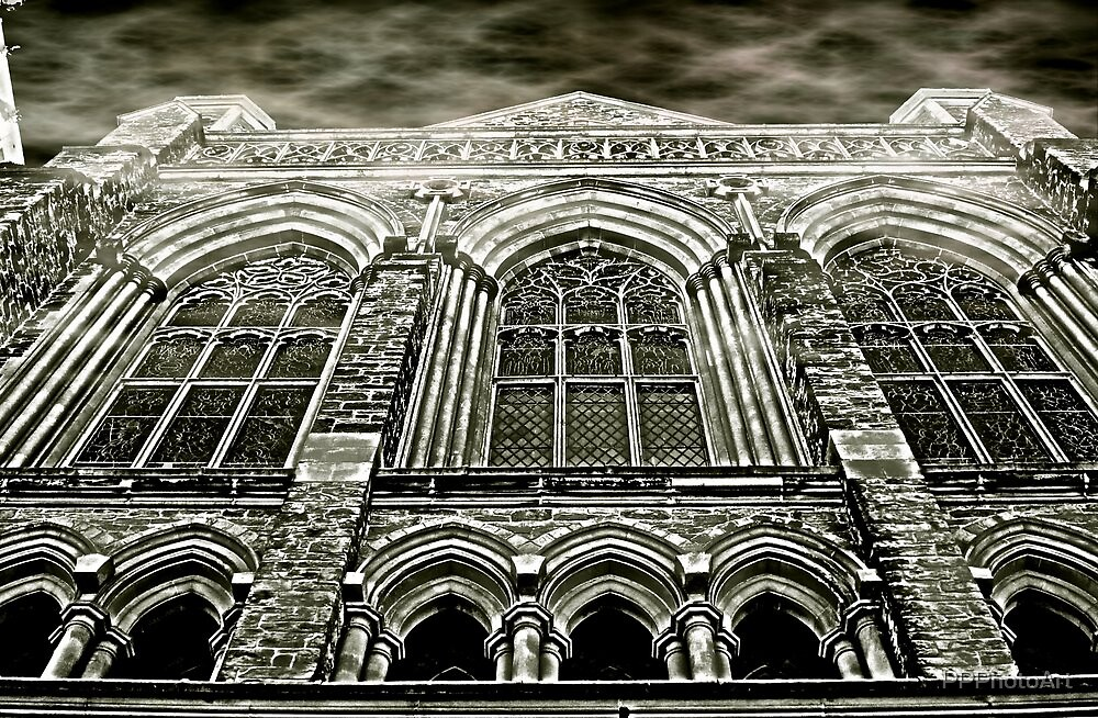 Church Windows B&W by PPPhotoArt