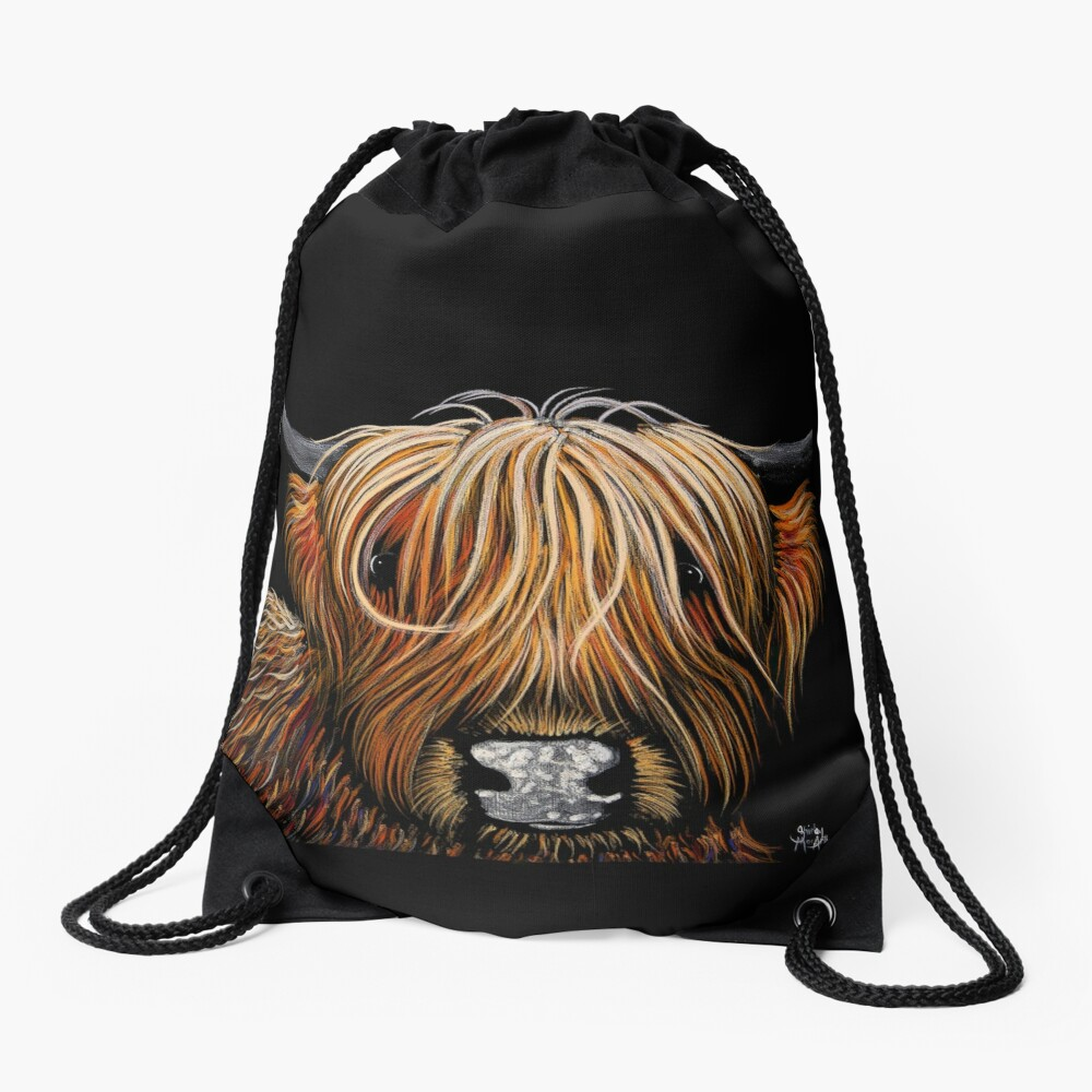 Scottish Highland Cow PRiNT 'HAMISH' by Shirley MacArthur Drawstring Bag