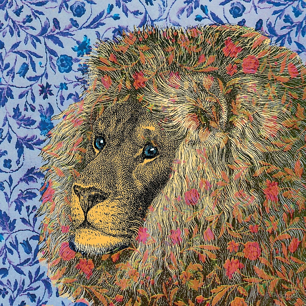 Peaceful Lion Against Floral Background by Pinchuck