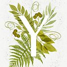 Letter Y monogram with green watercolor fern and leaves by helga-wigandt