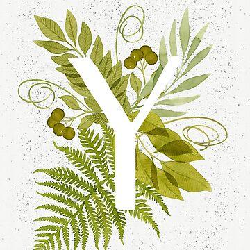 Monograma de la letra Y con helecho verde acuarela y hojas de helga-wigandt