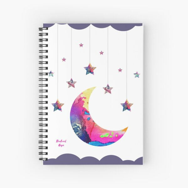 Abstract Moon and Stars with Clouds Spiral Notebook
