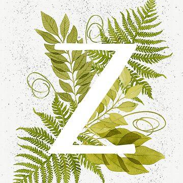 Monograma de la letra Z con helecho verde acuarela y hojas de helga-wigandt