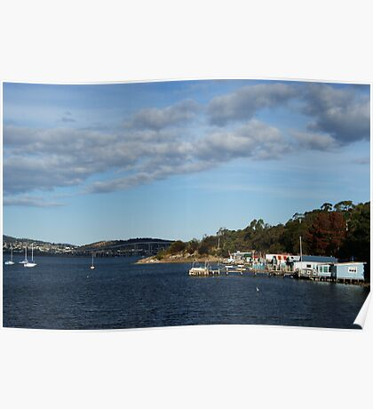 Boathouses and Bridge Poster