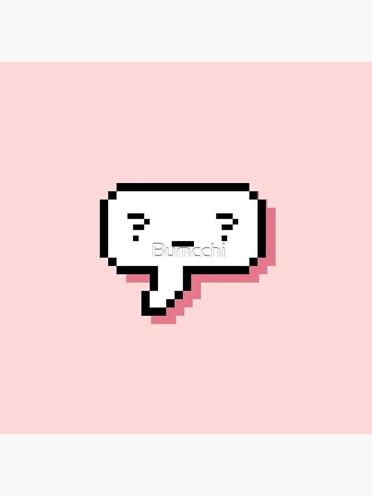 Confused Kaomoji - Pixel Speech Bubble - (Pink) by Bumcchi