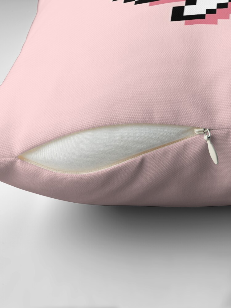 Alternate view of Confused Kaomoji - Pixel Speech Bubble - (Pink) Throw Pillow