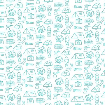 Camping Doodle Print Blue by hipaholic