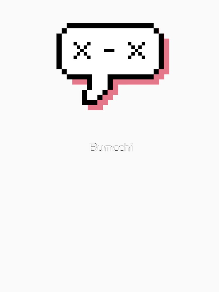 Dead Kaomoji - Pixel Speech Bubble - (Pink) by Bumcchi
