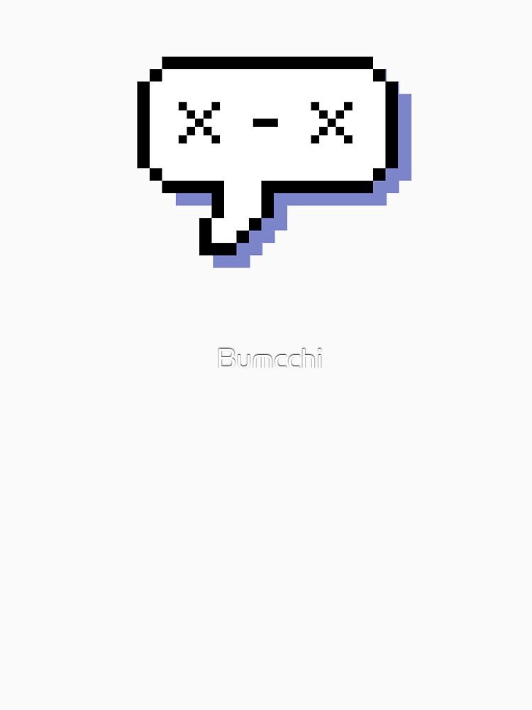 Dead Kaomoji - Pixel Speech Bubble - (Blue) by Bumcchi