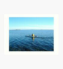 Kayaking the globe Art Print