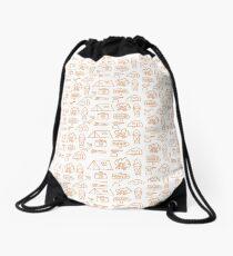 Camping Doodle Print Orange Drawstring Bag