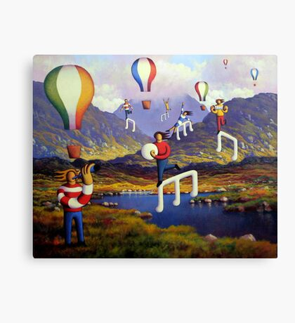 Connemara   Landscape with musicians balloons and notes Canvas Print