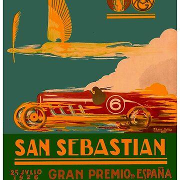SAN SEBASTIAN : Vintage 1917 Grand Prix Auto Racing Print by posterbobs