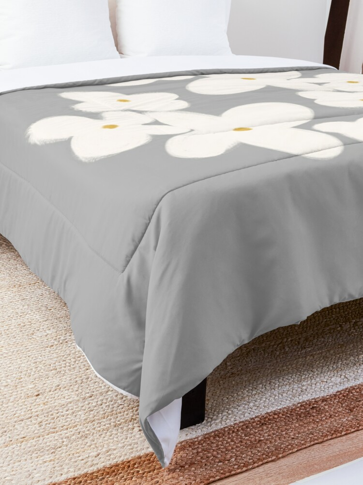 Alternate view of Painted Blooms in Pale Blush Pink on Solid Grey. Cheerful. Floral. Minimalist. Comforter