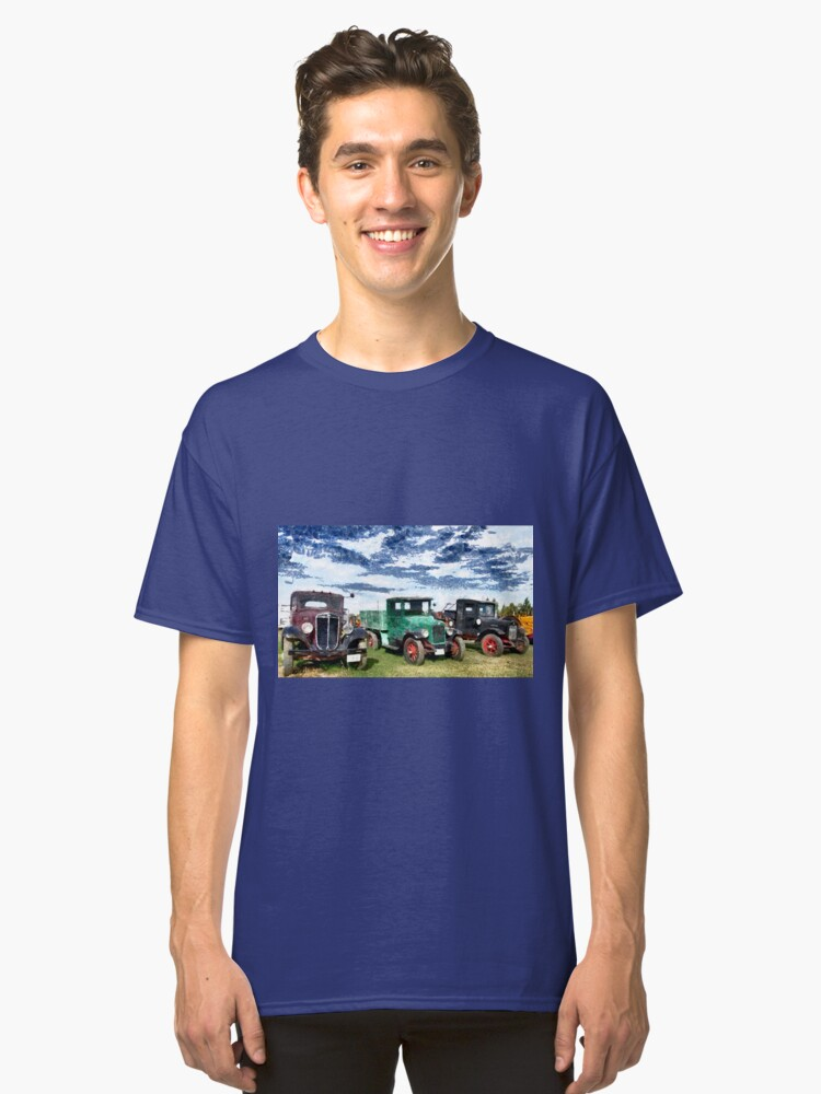 Antique trucks and cars along the road in Montana, USA Classic T-Shirt Front