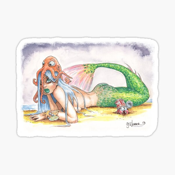 """""""HE DID IT"""" - Mermaid and Friends Sticker"""