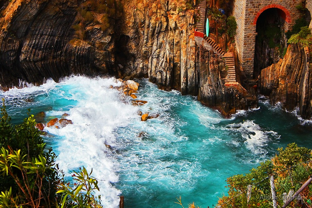 Crashing Waves at Riomaggiore by Alison Simpson