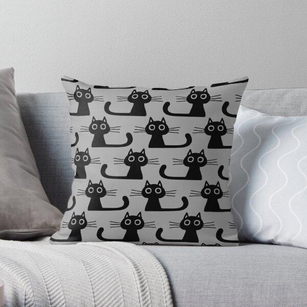 Cutie Kitty Cat Wide Eyed Black Kitten Throw Pillow