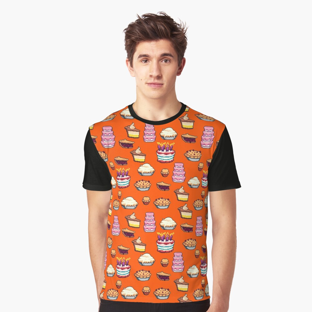 Pastry Pixel Pattern Graphic T-Shirt
