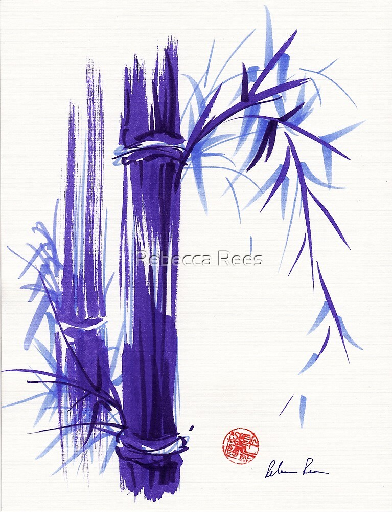 'Spring' Original ink and wash lavender bamboo painting by Rebecca Rees