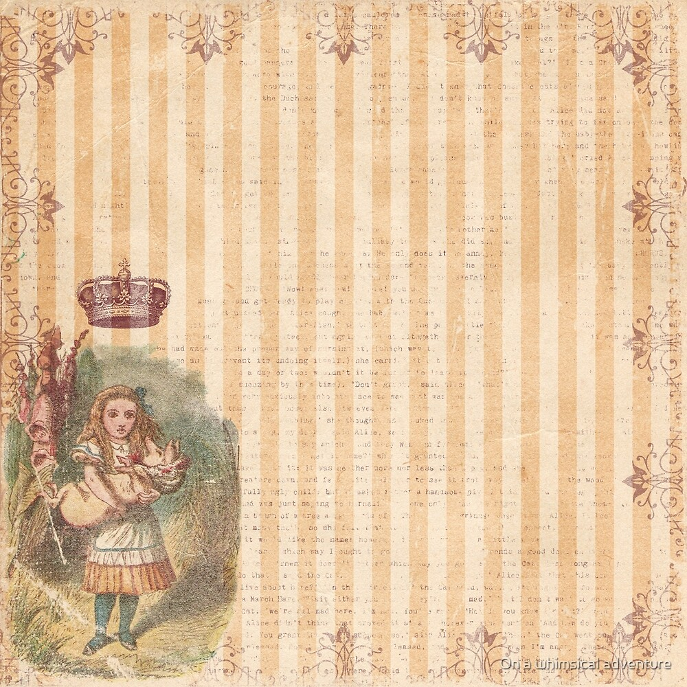 Vintage Alice in Wonderland Style Pattern by On a whimsical adventure