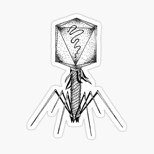 Bacteriophage Biology - Virology Virus Attack Sticker