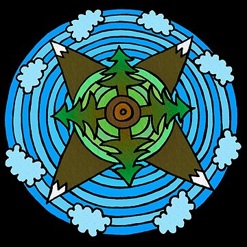 Forest & Mountain Themed Mandala Style Drawing by gorff
