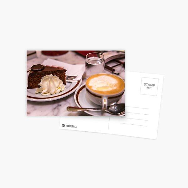 Austria. Vienna. Cafe Sacher. Cup of Viennese Melange and Piece of Sacher Torte. Postcard