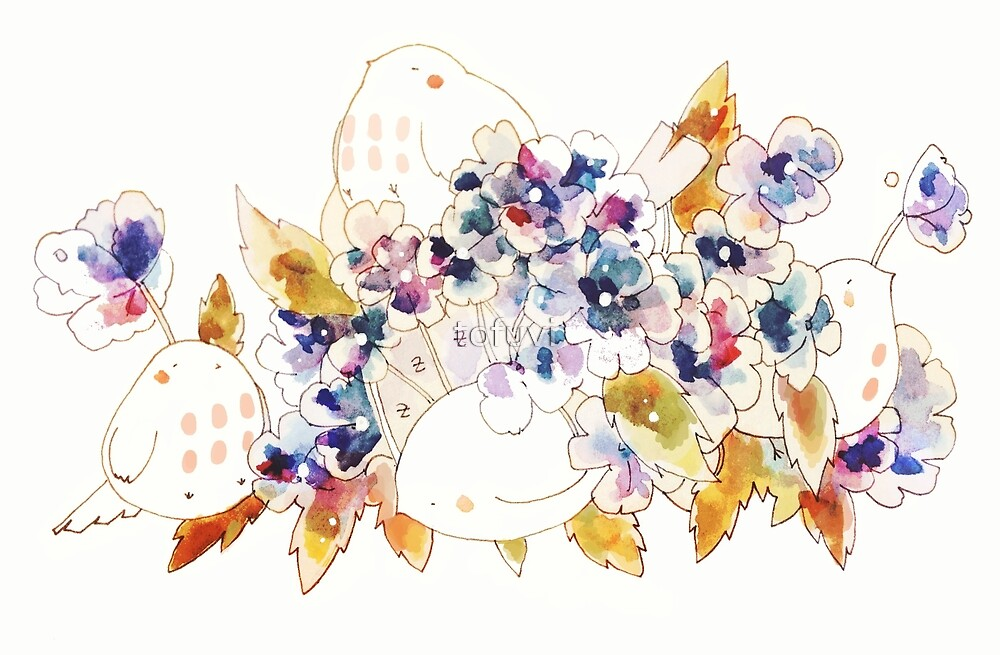 mochi bird with hydrangea. by tofuvi