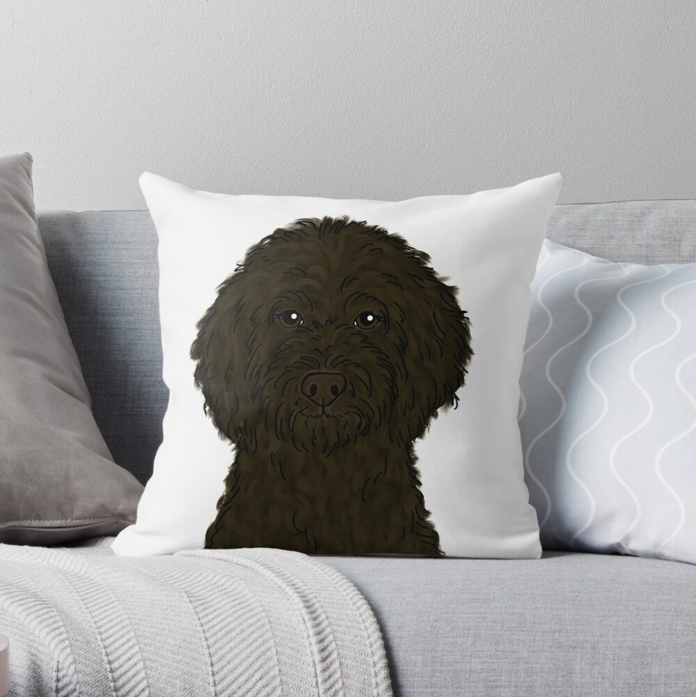 Chocolate Brown Goldendoodle  Throw Pillow