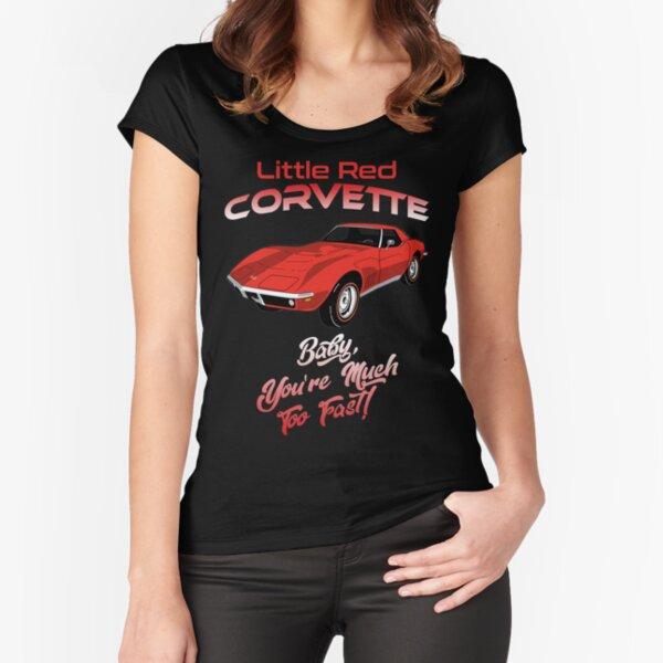 Pequeña corbeta roja Camiseta entallada de cuello ancho