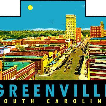 Calcomanía de viaje vintage de Greenville, Carolina del Sur de hilda74