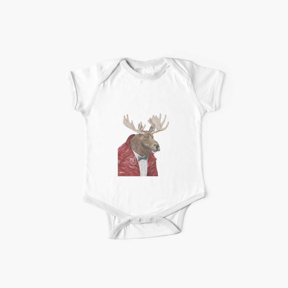 Moose in Leather Baby One-Piece