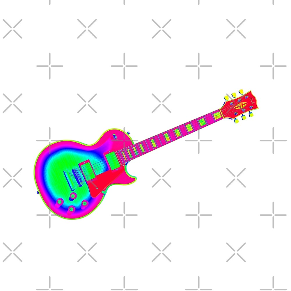 Colorful Electric Guitar Artwork by bradyarnold