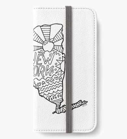 New York Doodle Zeichnung iPhone Flip-Case