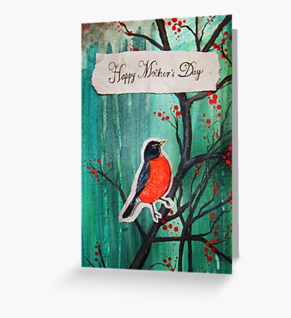 Happy Mother's Day Red Robin On Cherry Tree Greeting Card