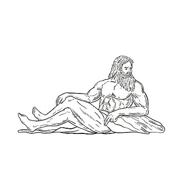 Heracles Reclining Side Drawing Black and White by patrimonio