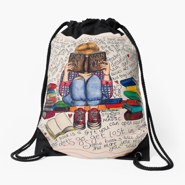 Reading is Dreaming with Open Eyes. Drawstring Bag