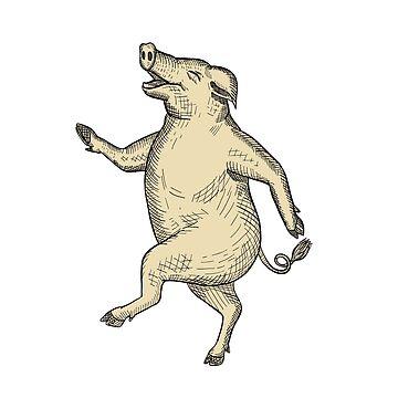 Jolly Pig Dancing Drawing Retro Color by patrimonio