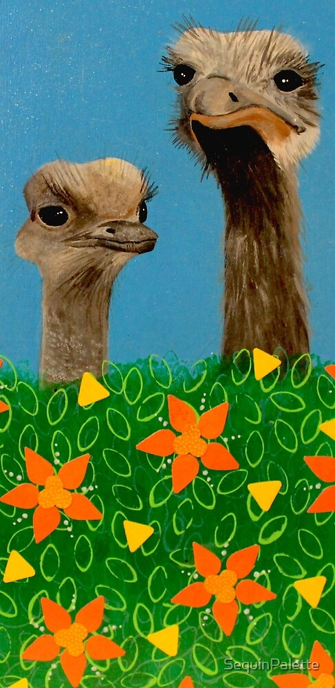 Peeping Ostriches  by SequinPalette