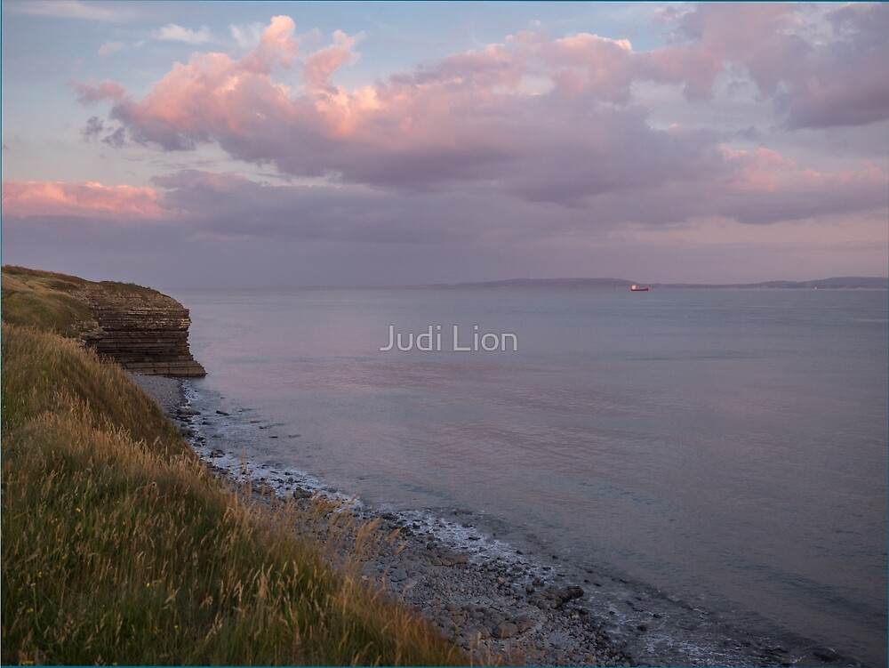 Pink clouds over the coast by Judi Lion
